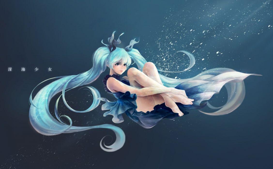 aqua hair banananana barefoot deep-sea girl (vocaloid) hatsune miku long hair twintails underwater vocaloid water wallpaper