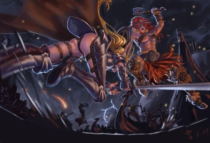 armor ass blonde hair feitie long hair original red eyes red hair sword weapon wallpaper