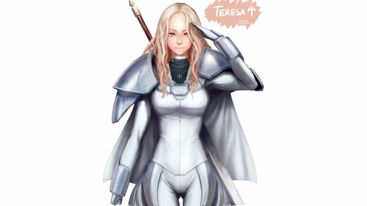armor blonde hair cape claymore sword teresa weapon wallpaper