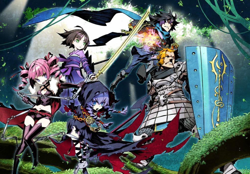 armor black hair blue eyes braids cape fire forest grass group leaves magic male navel pink hair red eyes scarf shorts sword tree twintails weapon wallpaper