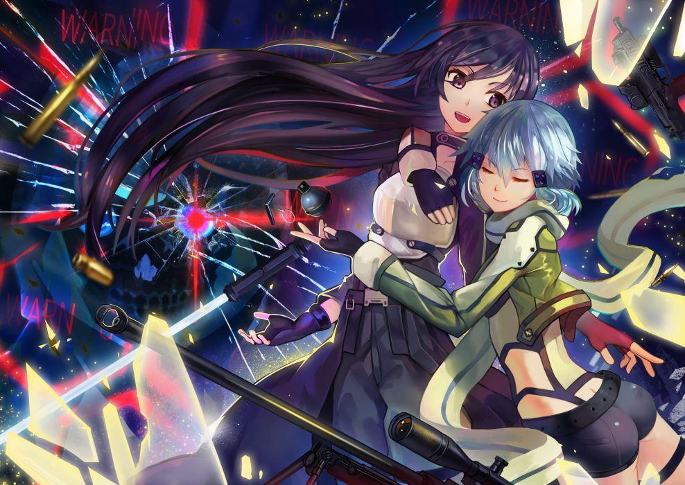 ass black eyes black hair blue hair gloves gun gun gale online kirigaya kazuto long hair male shinon (sao) short hair shorts sword weapon wallpaper