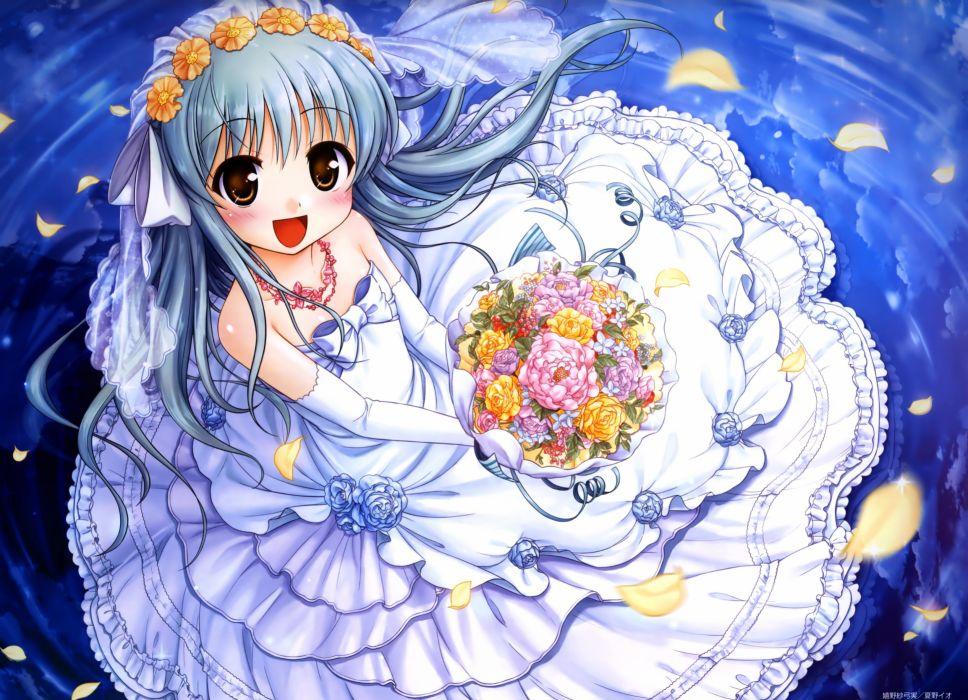 august bekkankou daitoshokan no hitsujikai dress elbow gloves gray hair long hair scan ureshino sayumi water wedding attire wallpaper