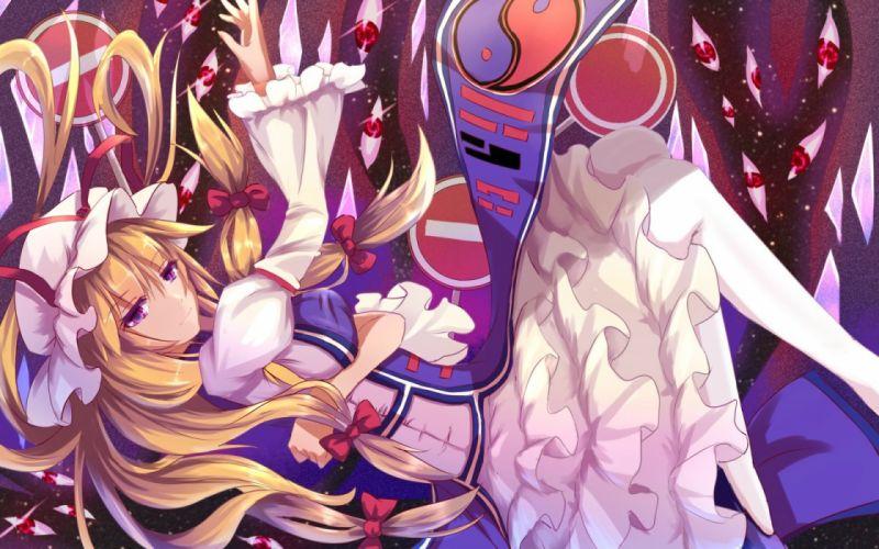 baka no e blonde hair dress hat purple eyes ribbons touhou yakumo yukari wallpaper