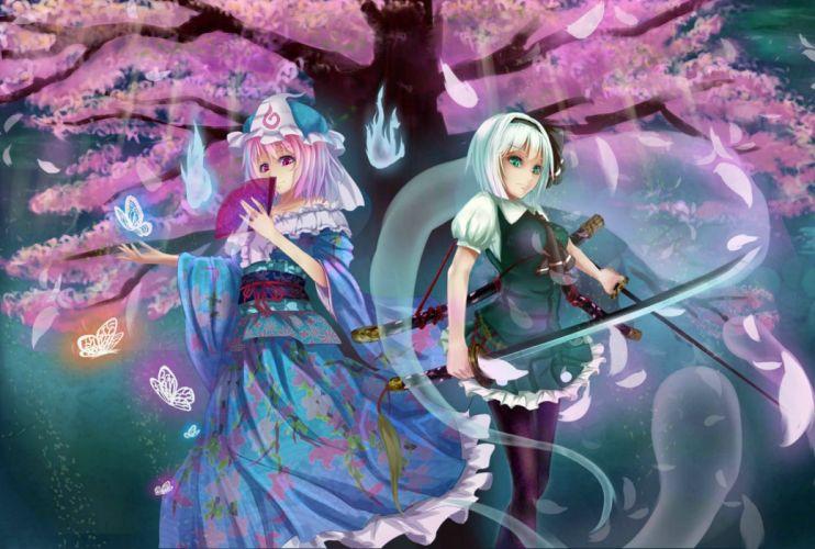 baka no e konpaku youmu saigyouji yuyuko touhou wallpaper