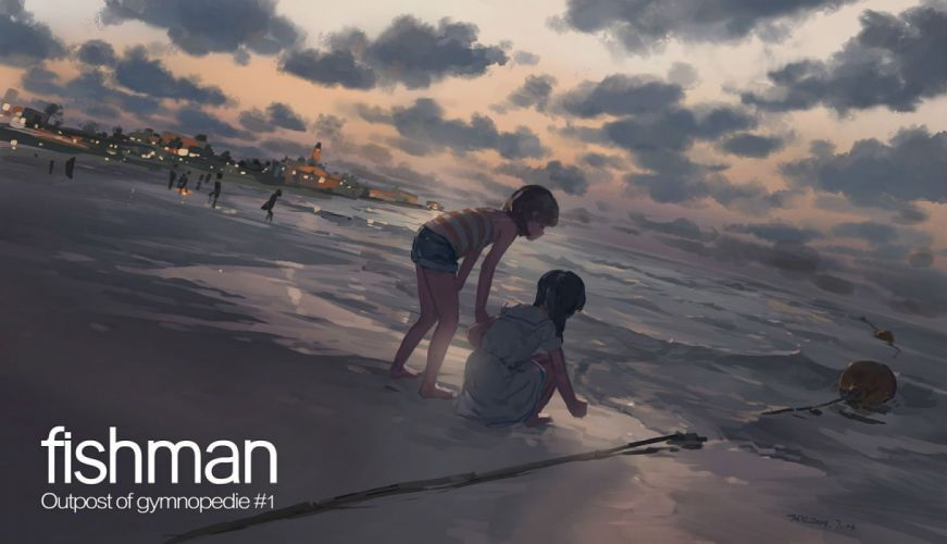 barefoot beach black hair brown hair clouds dress hjl long hair original scenic short hair shorts sky water wallpaper