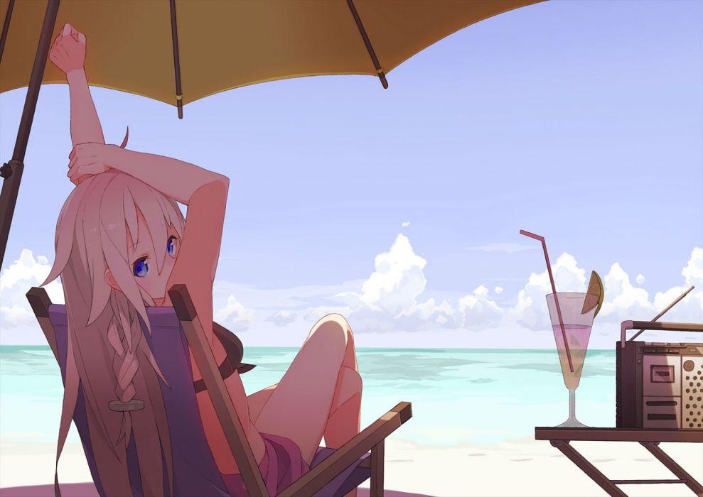 beach bikini blue eyes braids drink ia long hair swimsuit tomioka jirou umbrella vocaloid wallpaper