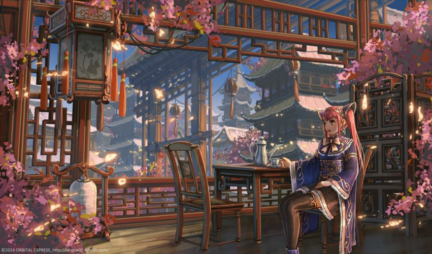 bespin building cherry blossoms city drink flowers long hair original red hair scenic skirt thighhighs twintails watermark wallpaper