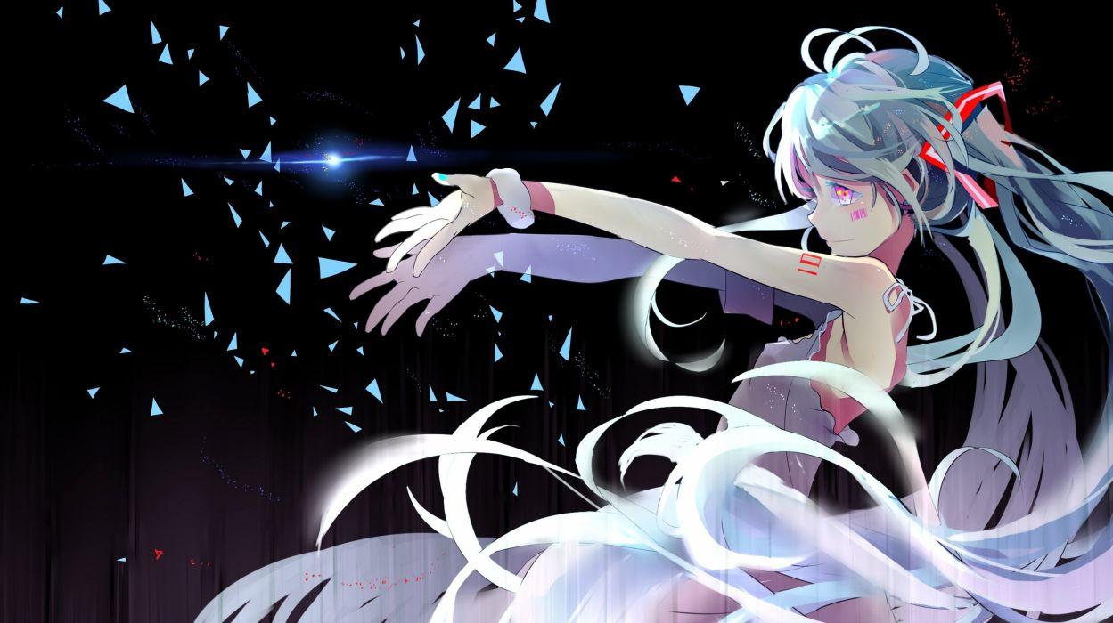 bicolored eyes blue hair dress hatsune miku long hair longyuyi twintails vocaloid wristwear wallpaper