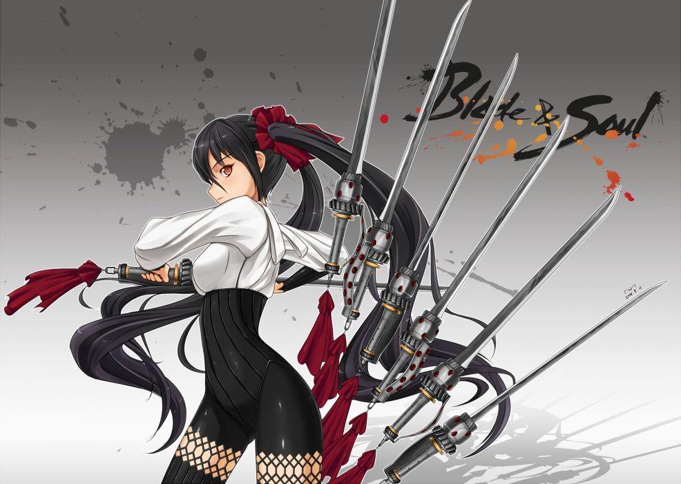 black hair blade & soul long hair midnight orange eyes skintight sword twintails weapon wallpaper