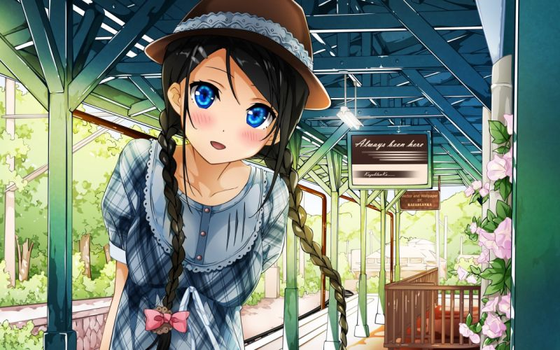 black hair blue eyes braids dress hat kantoku original sunset wallpaper