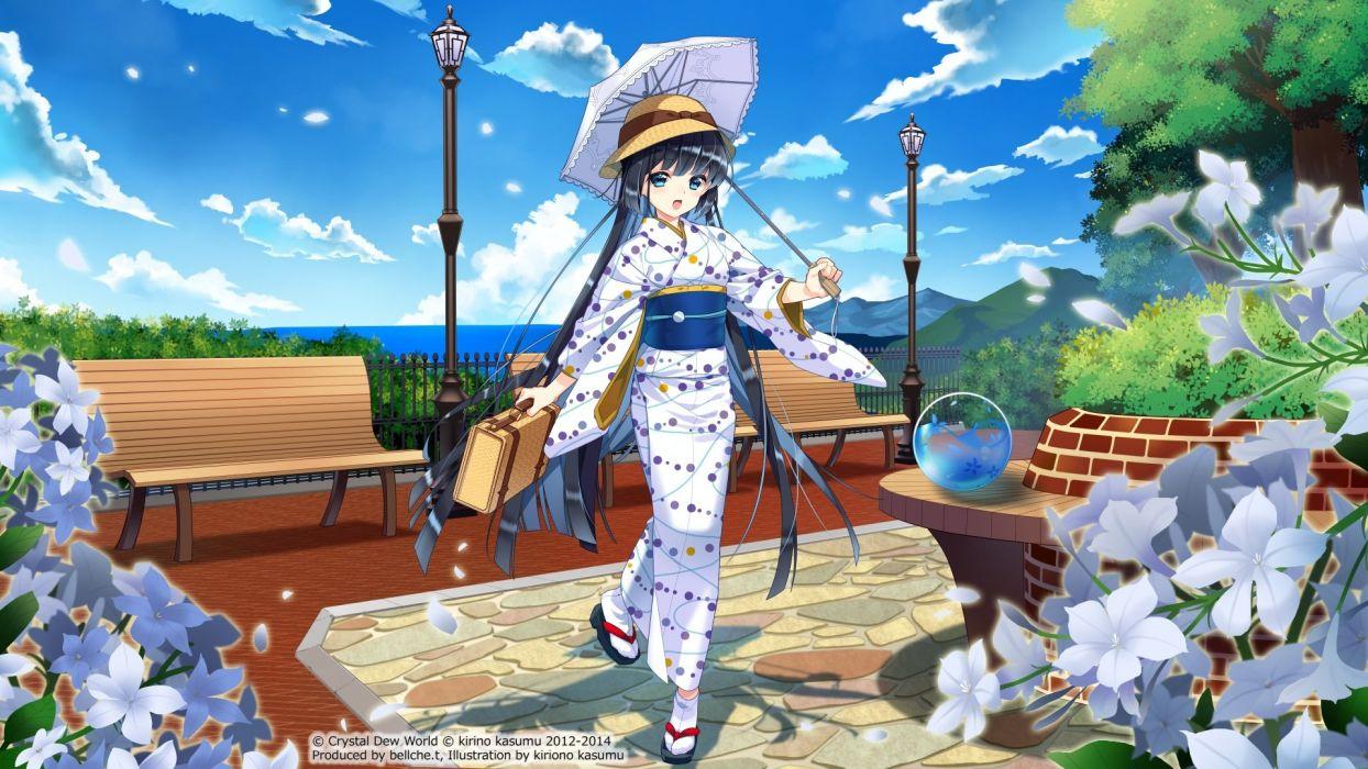 black hair blue eyes japanese clothes kirino kasumu petals suishou shizuku watermark yukata wallpaper