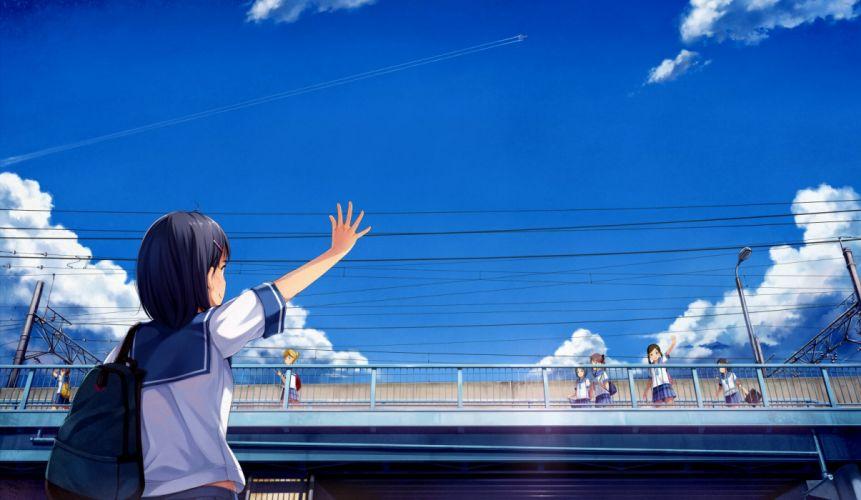 black hair clouds original seifuku short hair skirt sky yokaze japan wallpaper