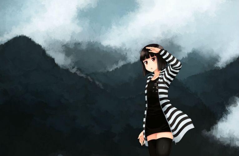 black hair dress kouno hikaru original red eyes short hair thighhighs zettai ryouiki wallpaper