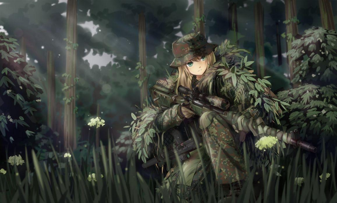 blonde hair boots flowers forest gloves grass green eyes gun hat leaves long hair military original tc1995 tree uniform weapon wallpaper