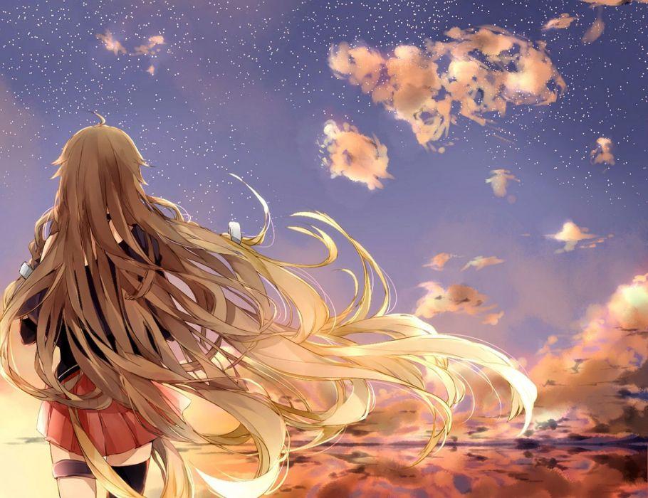blonde hair clouds ia long hair manako (manatera) sky stars vocaloid wallpaper