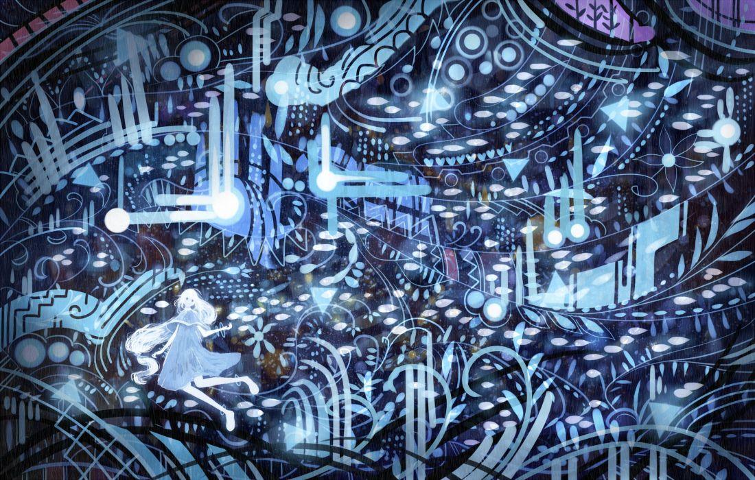 blue bou nin dress long hair original white hair wallpaper