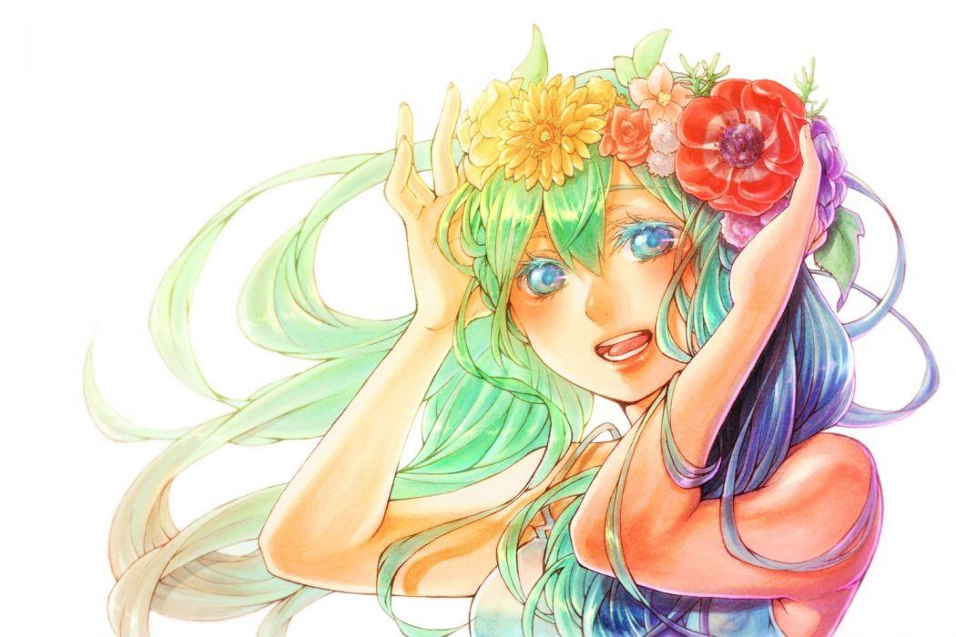 blue eyes flowers green hair hatsune miku lucy carrot vocaloid wallpaper