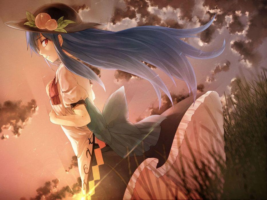 blue hair bow clouds dress grass hat hinanawi tenshi ibuki notsu long hair red eyes sky sunset touhou wallpaper