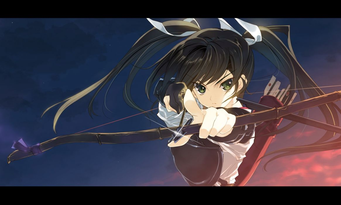 bow (weapon) brown hair green eyes kantai collection nakamura takeshi twintails weapon zuikaku (kancolle) wallpaper
