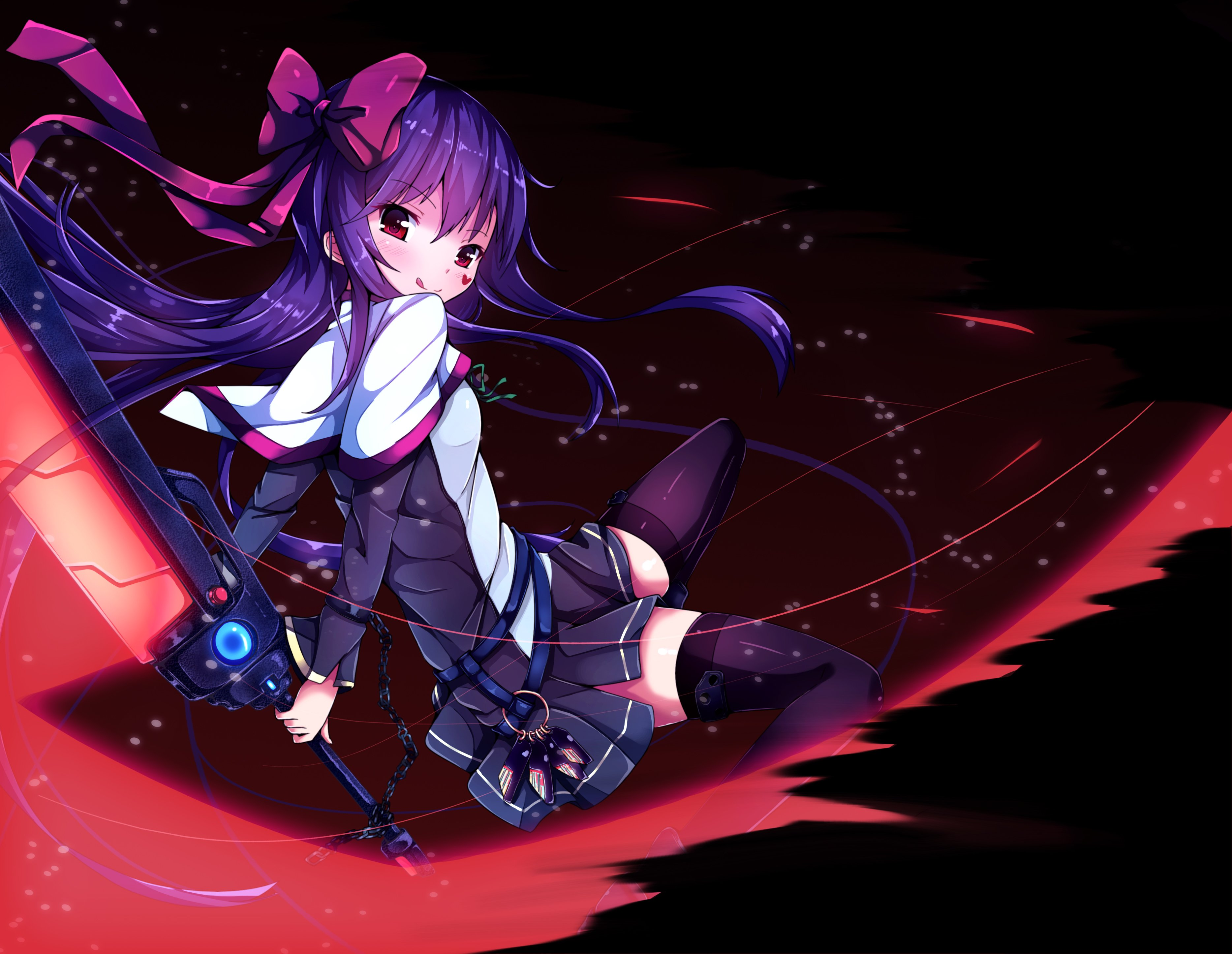 Red Hair Anime Girl With Sword: Bow Erimu Long Hair Original Purple Hair Red Eyes Skirt