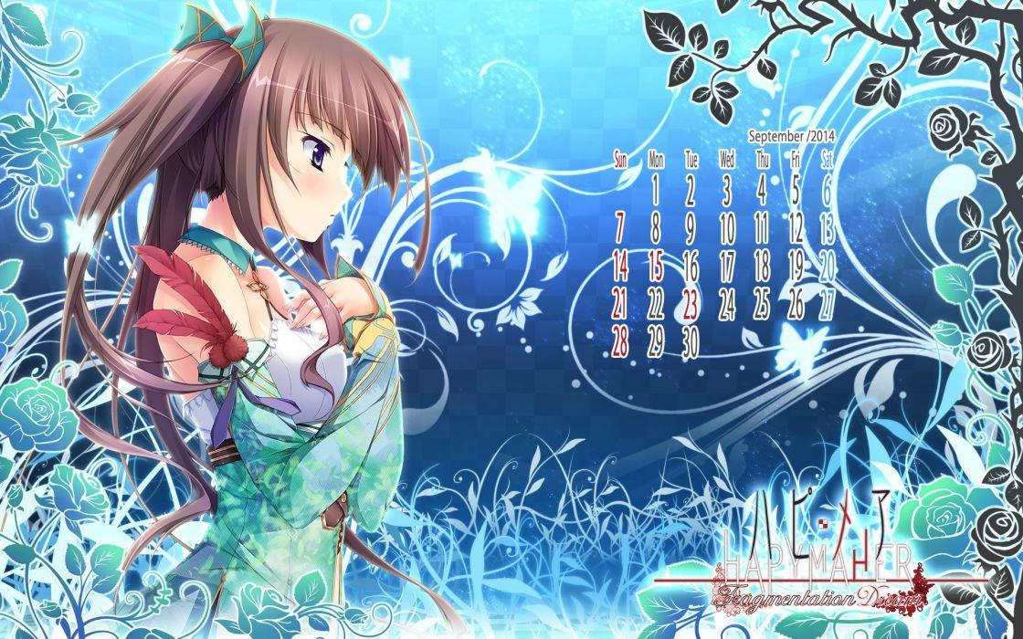 brown hair calendar hapymaher hirasaka keiko purple software tsukimori hiro twintails wallpaper