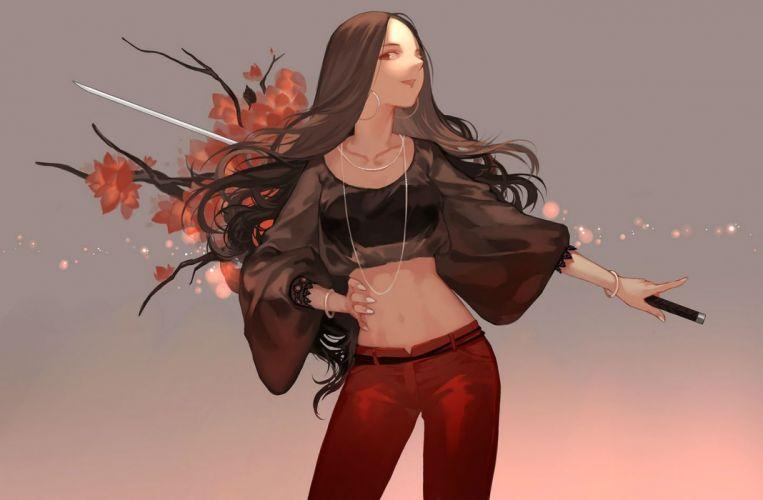 brown hair joseph lee long hair navel necklace original red eyes sword weapon wallpaper