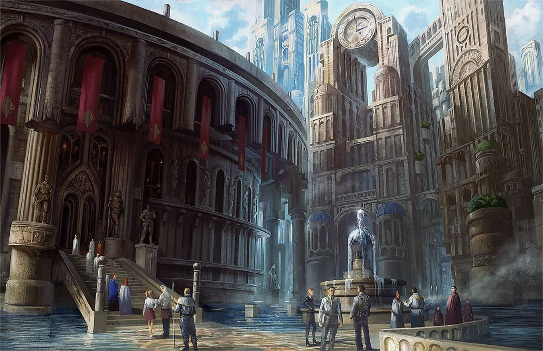 building city group male noba original scenic spear stairs water weapon wallpaper