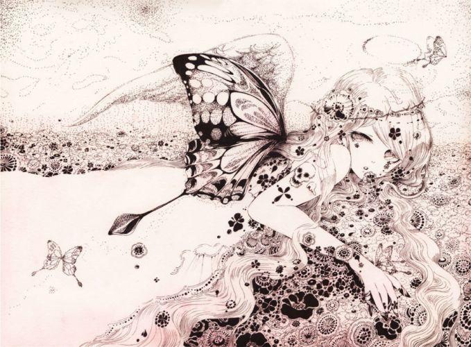 butterfly charmal flowers headband long hair monochrome original skull tattoo wings wallpaper