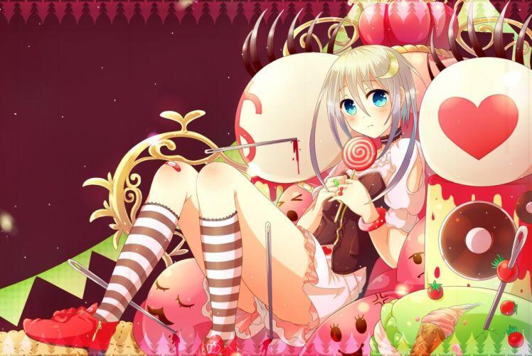 cake candy cherry choker food kneehighs lollipop long hair original sakakidani white hair wristwear wallpaper