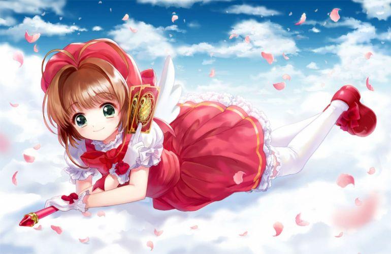 card captor sakura clouds gloves kinomoto sakura moai petals wand wallpaper