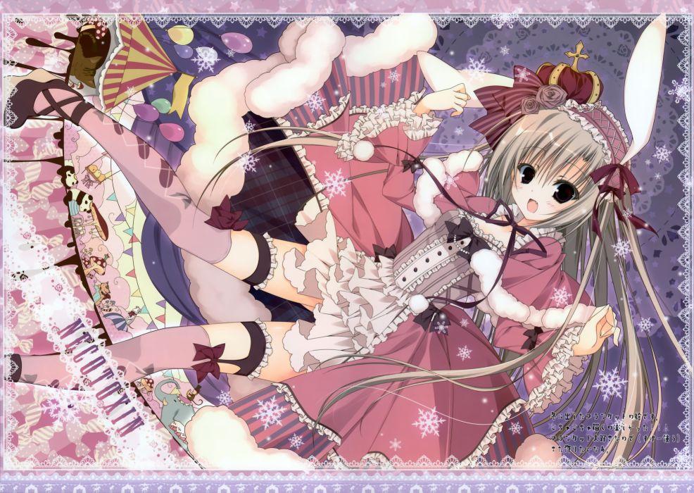 bunny ears crown dress fang garter inugami kira original scan stockings thighhighs wallpaper