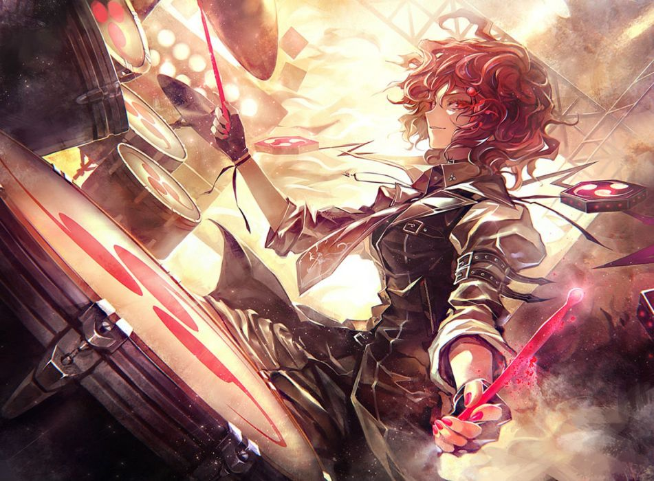 drums gloves horikawa raiko kozou red eyes red hair short hair tie touhou wallpaper
