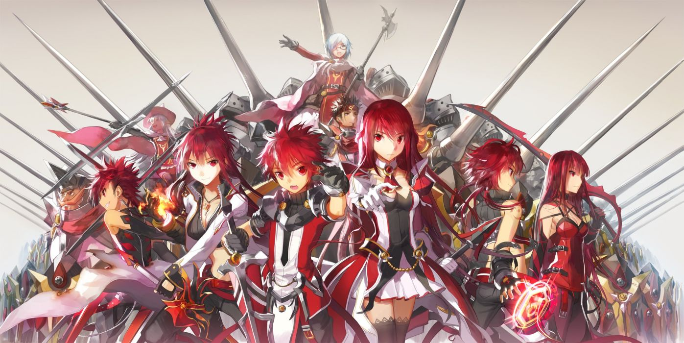 elesis (elsword) elsword elsword (character) magic red eyes red hair scorpion5050 sword weapon wallpaper