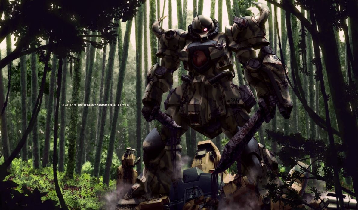 forest knife mecha mobile suit gundam sword tree weapon yamarata wallpaper