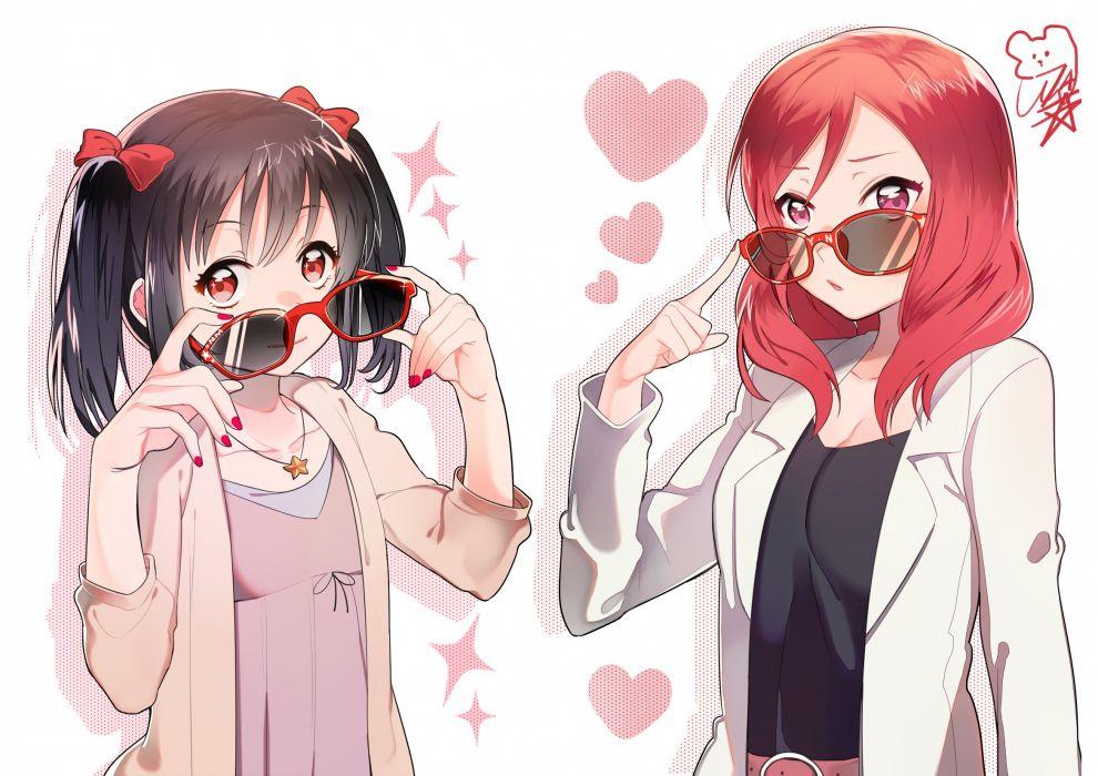 girls black hair bow glasses necklace nishikino maki purple eyes red eyes red hair sunglasses twintails yazawa nico wallpaper