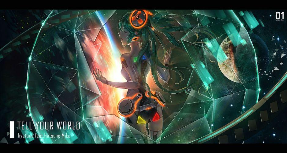 green hair hatsune miku linlinlufi long hair space tell your world (vocaloid) vocaloid wallpaper