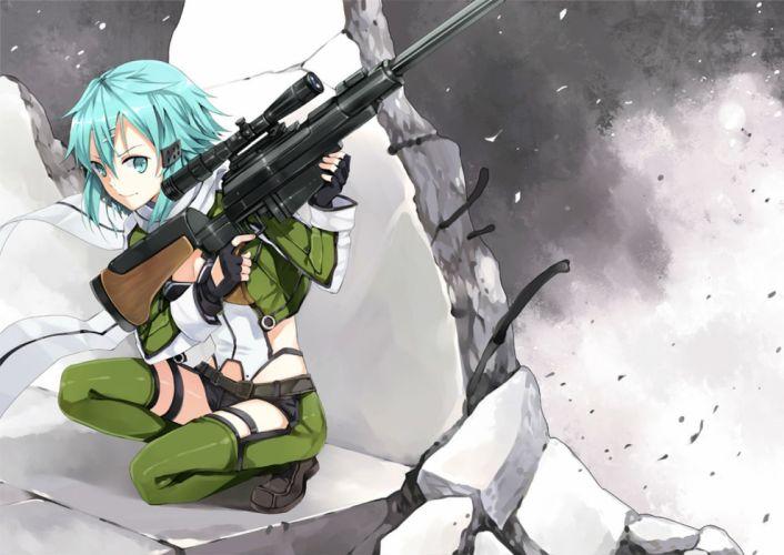 gun gun gale online hao (patinnko) shinon (sao) sword art online weapon wallpaper