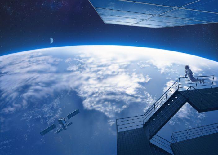 jpeg artifacts moon nauimusuka original planet scenic space stairs stars wallpaper
