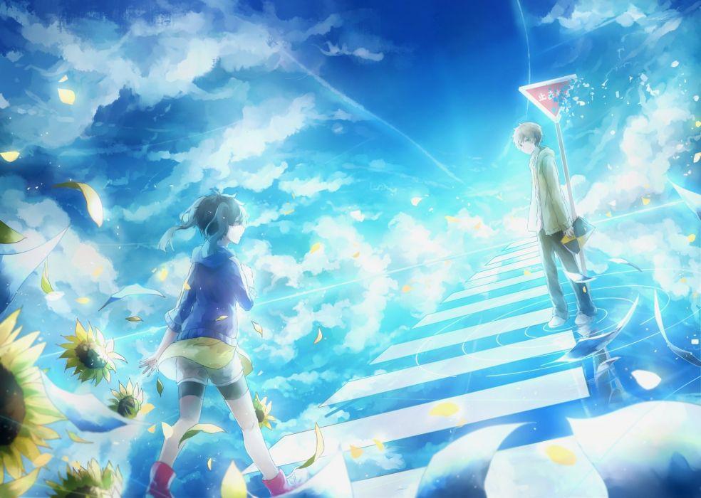 Kagerou Project Enomoto Takane Kokonose Haruka Sneakers Blue Sky wallpaper