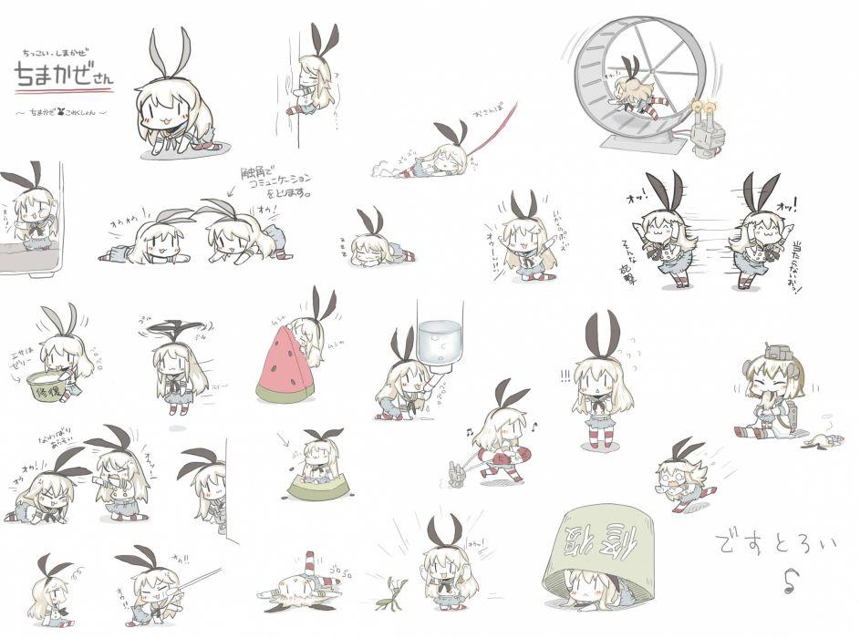 kantai collection rensouhou-chan shimakaze (kancolle) tagme tagme (artist) yukikaze (kancolle) wallpaper