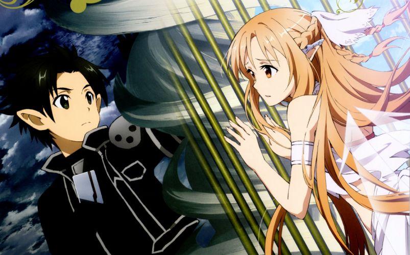 Kawatsuma Tomomi A-1 Pictures Sword Art Online Kirigaya Kazuto Titania (ALO) Yuuki Asuna wallpaper