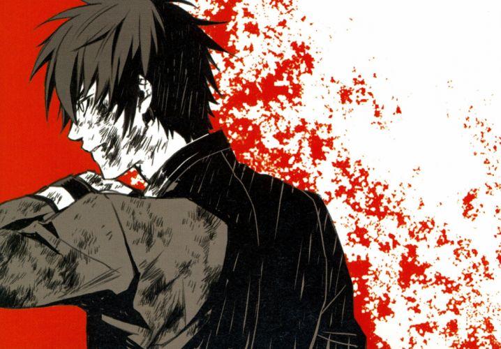 Kazuki Yone Kazuki Yone Gashuu - Zanka Hiiro no Kakera Takuma Onizaki Looking Ahead Red Background wallpaper