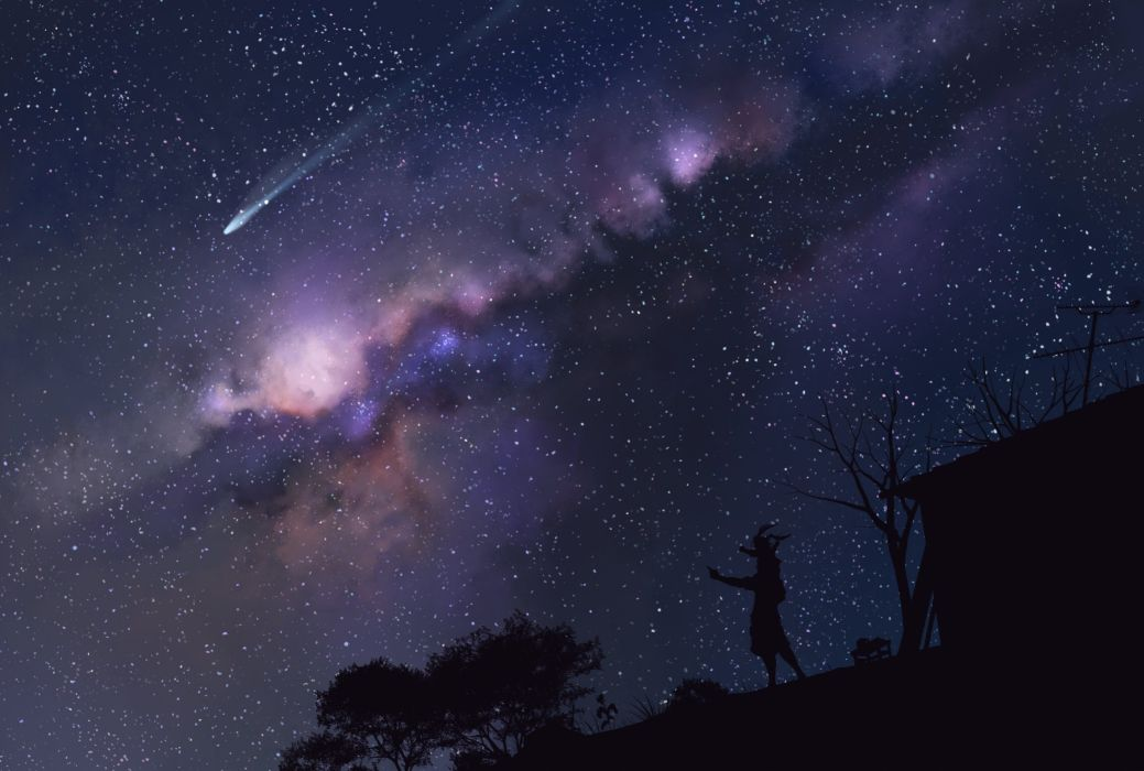 night original scenic silhouette sky stars tree wei ji wallpaper