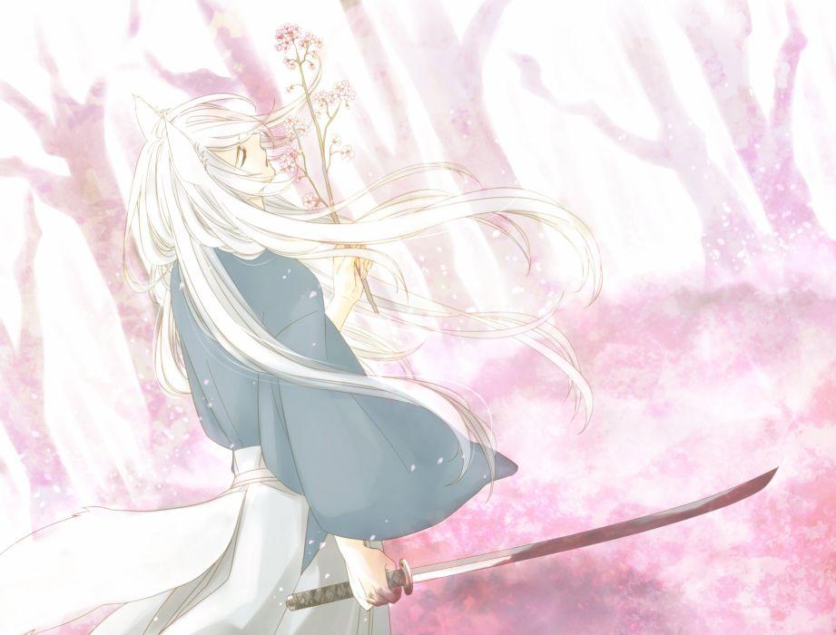 Pixiv Id 543977 Kamisama Hajimemashita Tomoe (Kamisama Hajimemashita) Kitsunemimi Fox Tail Wind wallpaper