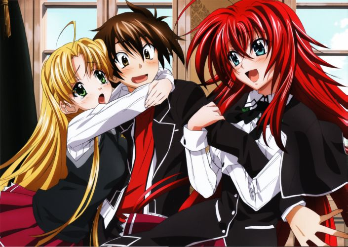 TNK Highschool DxD Highschool DxD Visual Collection Hyoudou Issei Rias Gremory Asia Argento wallpaper