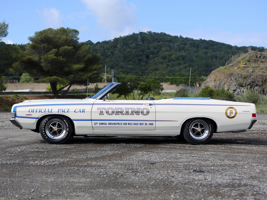 1968 Ford Fairlane Torino G-T Convertible Indy 500 Pace muscle classic race racing wallpaper