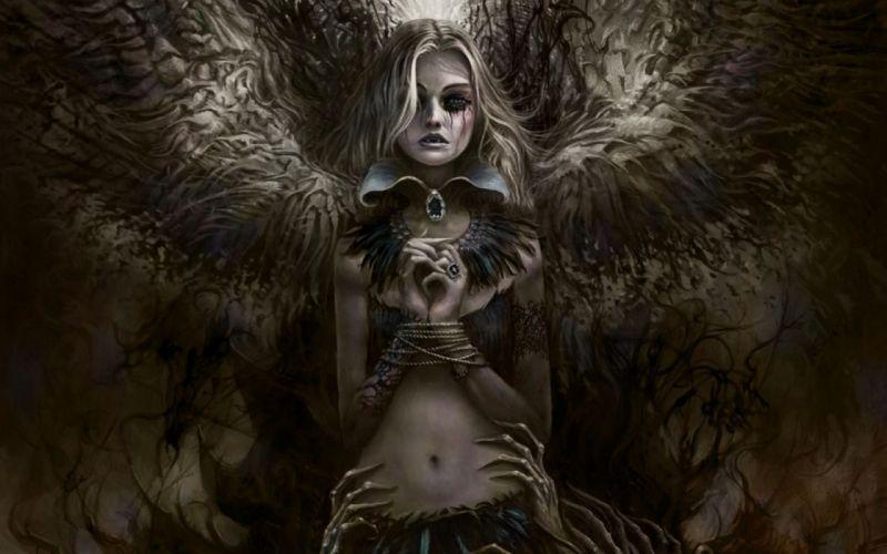 fantasy horror death darkness crow sorrow blood angel wallpaper