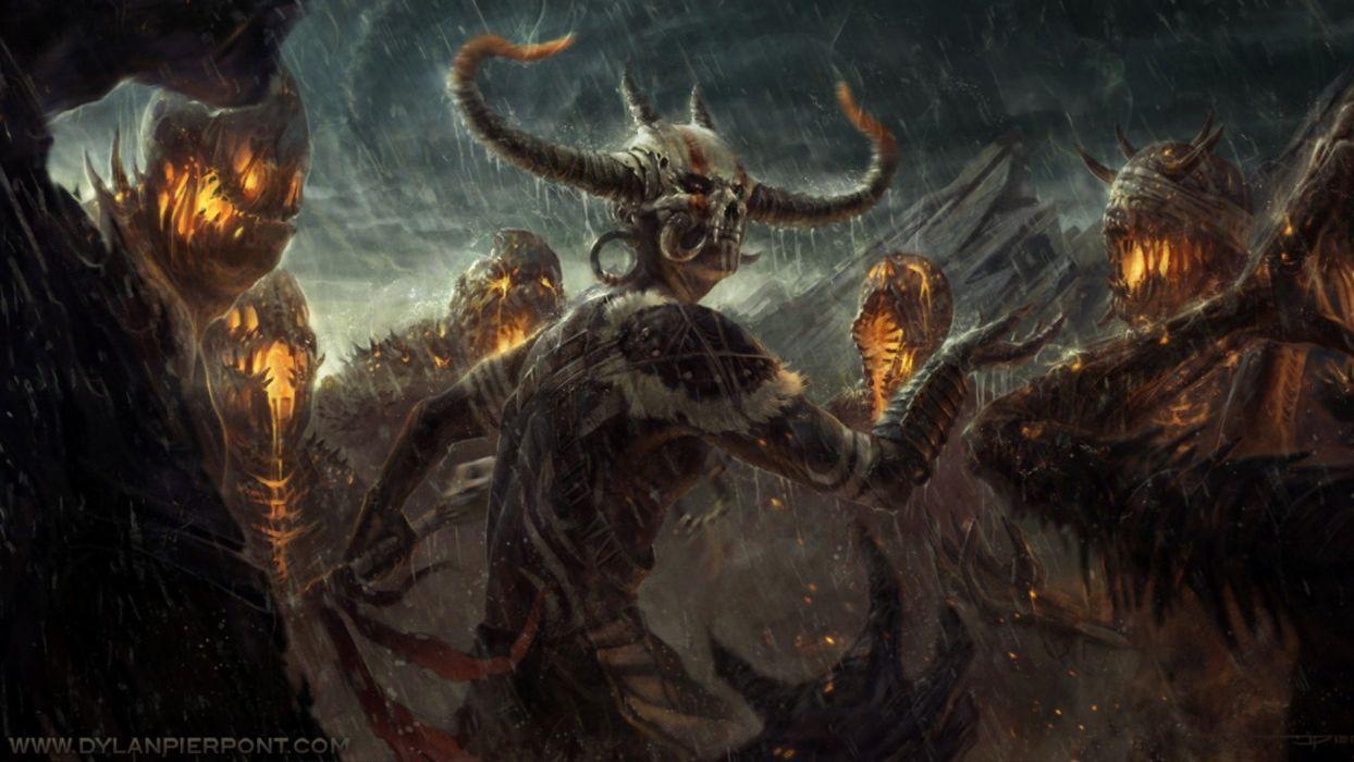 Space Demonic Art Hd Wallpaper: Horror Fantasy Creatures Demon Wallpaper
