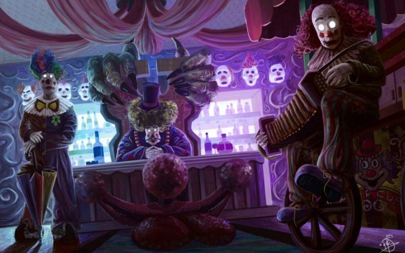 illustration horror clown circus creepy wallpaper