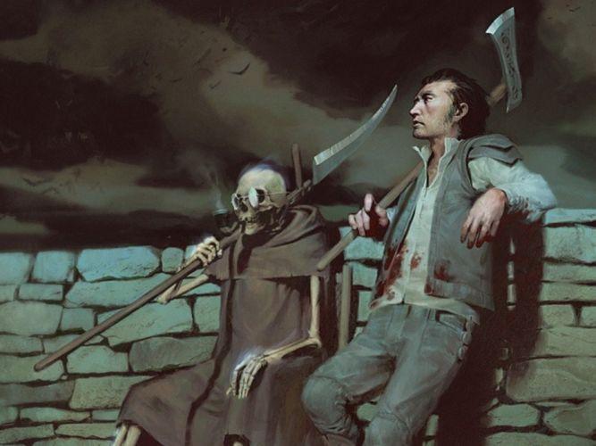 illustration skull magic horror scythe medieval moonlight skeleton remington wallpaper